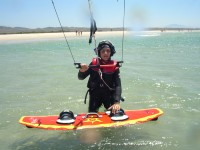 Independent in the water with the board, thanks tao Tarifa Max kitesurfing school. Exeperience does makes the difference.
