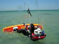 Independent in the water with the kiteboard in Tarifa Spain
