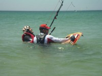 At Tarifa Max kitesurfing school, the instructor will come in the water with you