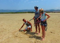 Kitesurf lesson in Los Lances beach in Tarifa with Tarifa Max kitesurfing school
