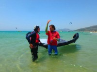 Get the kite relaunched from the water with step by step detailed exercises with Tarifa Max kitesurfing instructor in the water