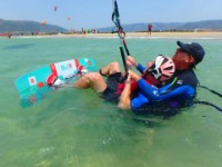 At Tarifa Max kiteschool the instructor will come in the water with you to begin the waterstart training
